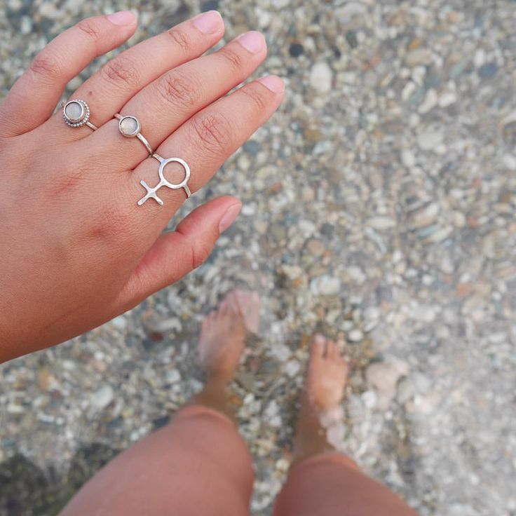 Beach jewelry! Wearing Future is Female, Mini Sakura and one of my first pieces – a moonstone surrounded by tiny dots