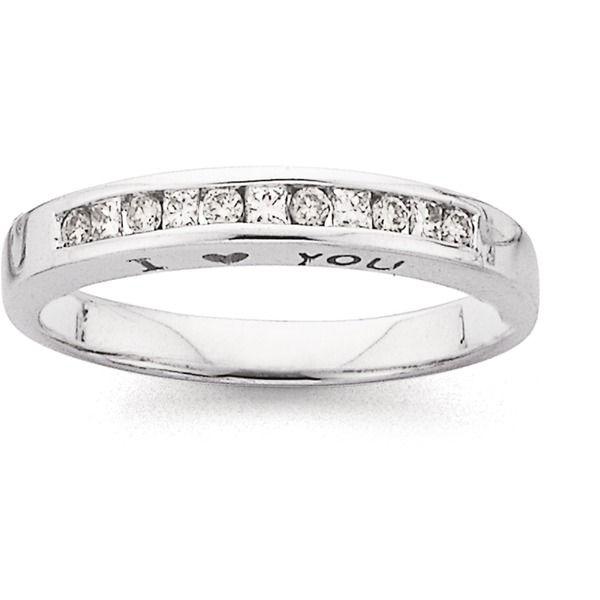 9ct White Gold Diamond Round Brilliant And Princess Cut Band