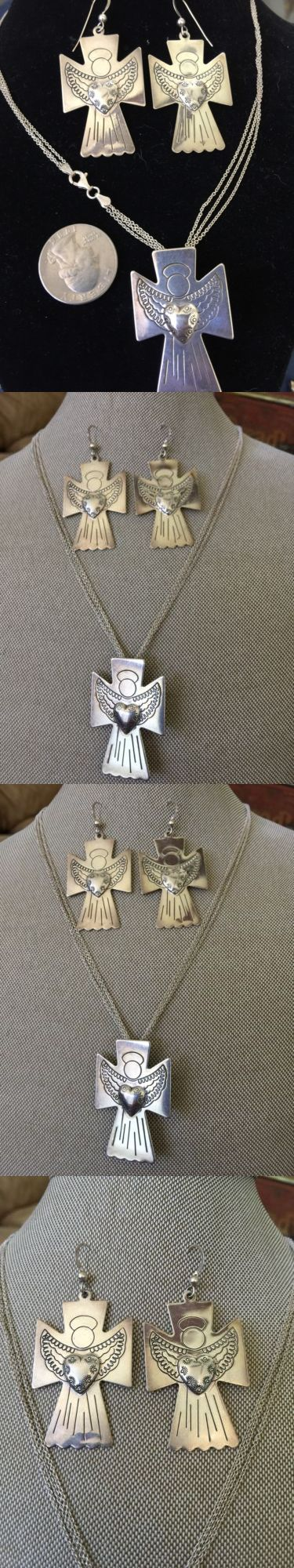 Precious Metal without Stones 164336: Carolyn Pollack Relios Qvc Sterling Silver Angel Cross Heart Brooch Pendant Set -> BUY IT NOW ONLY: $175 on eBay!