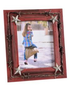 Painted Wooden Barbed Wire & Star Conchos Picture Frame - 8x10