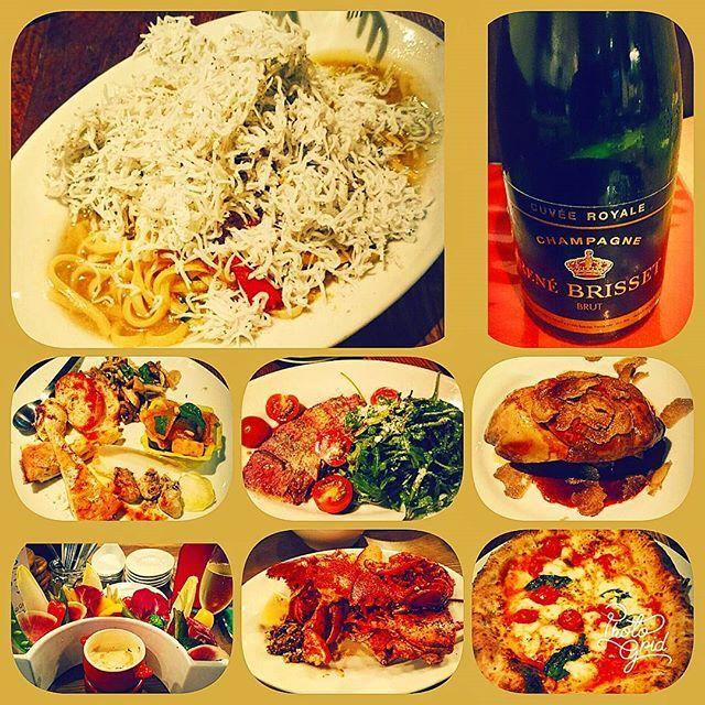 #ディナー #dinner #晩御飯 #晩ご飯 #晩ごはん #外食 #イタリアン #シャンパン #オマール海老 #肉 #フォアグラ #トリュフ #バーニャカウダ #ピザ #ピッツア #パスタ #しらすとカラスミのペペロンチーノ #渋谷ドラエモン