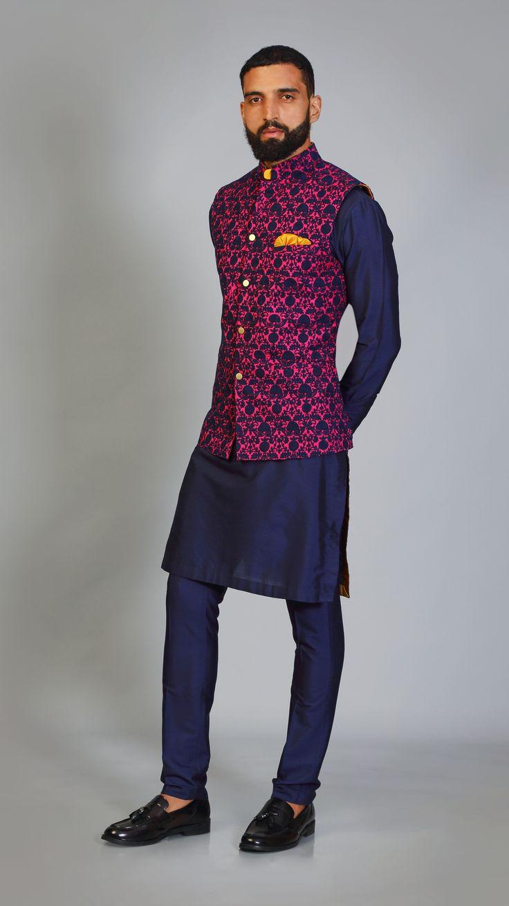 Fushia #navy #color #combo #doriwork #sadri #kurta #payjama #vibrant #colors #fun