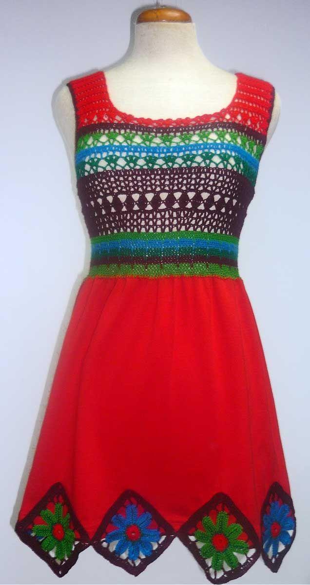 Vestido  elaborado con tela beige y tejido a crochet en hilos de colores púrpura marrón, malva, anaranjado y beige,  talla M      Vestido ...