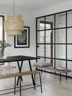 Dining - nook - neutrals - white floor - glass - light - window - bench - wood