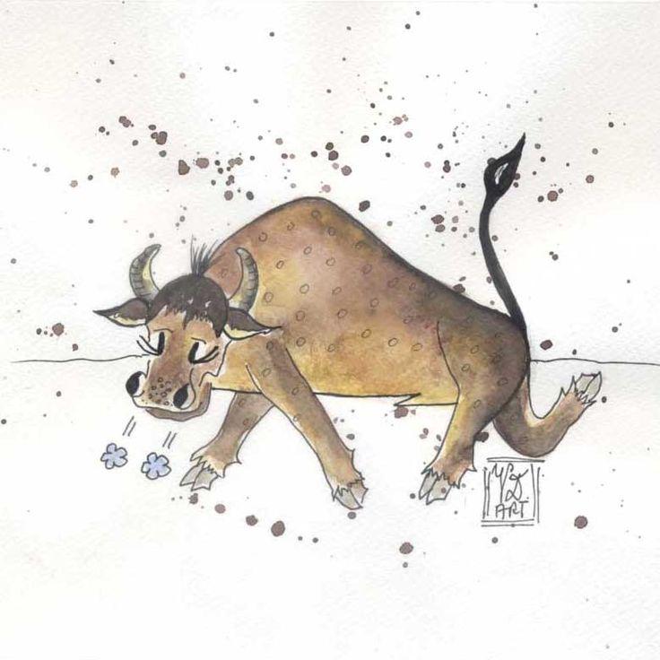 Tierkreiszeichen Stier, eigene Malerei, Tusche/Aquarell, 20 x 20 cm