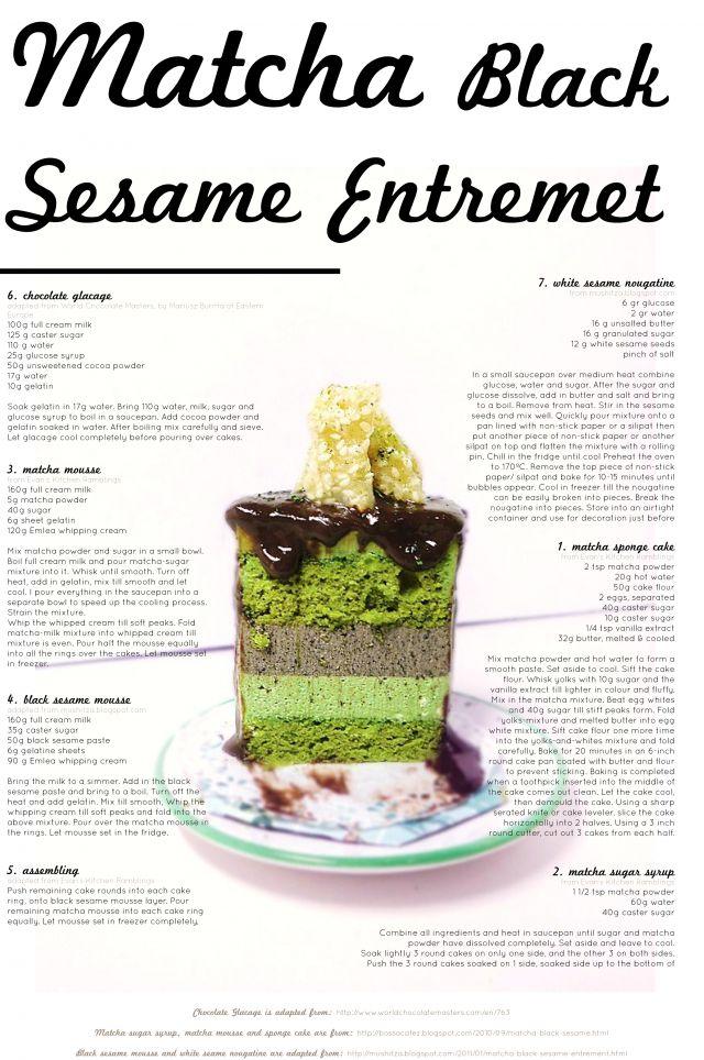 Matcha Black Sesame Entremet with White Sesame Nougatine