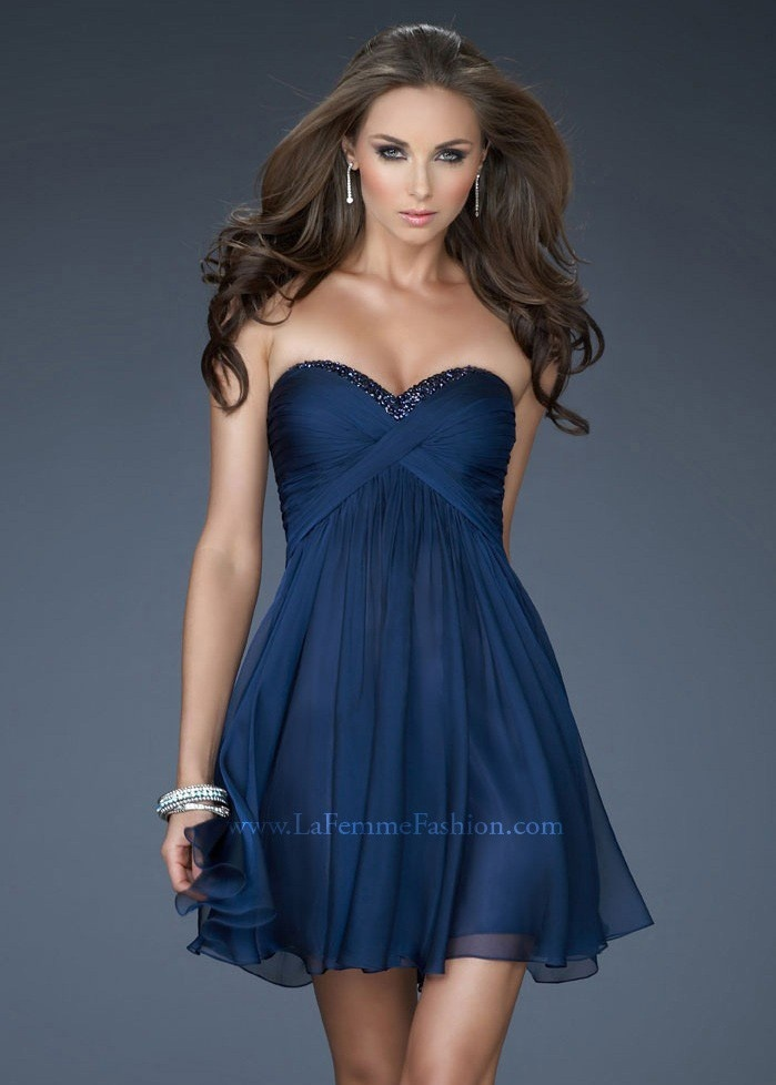 La Femme 18177 Navy Cocktail Dress is perfect for homecoming!
