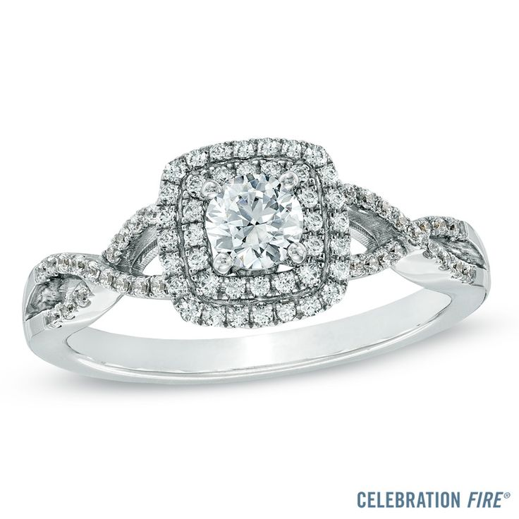 celebration fire double halo diamond engagement ring - Wedding Rings At Zales