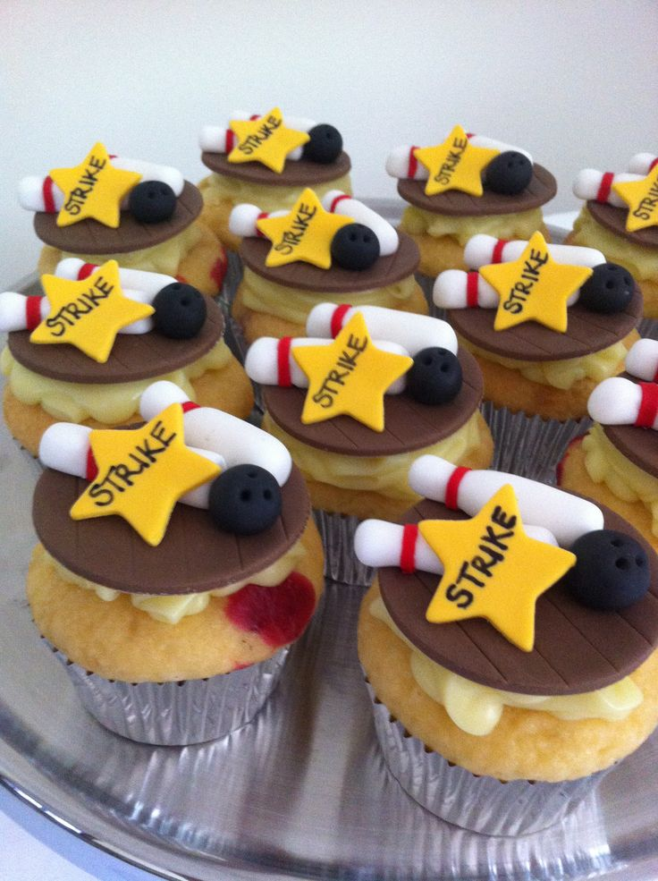 Ten Pin Bowling Cupcakes • by Baking Gorgeous | www.bakinggorgeous.com