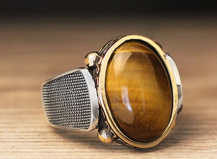 925 K Sterling Silver Man Ring Brown Brown Tiger's Eye 9.5 US Size B18-64268 #eJOYA #Statement