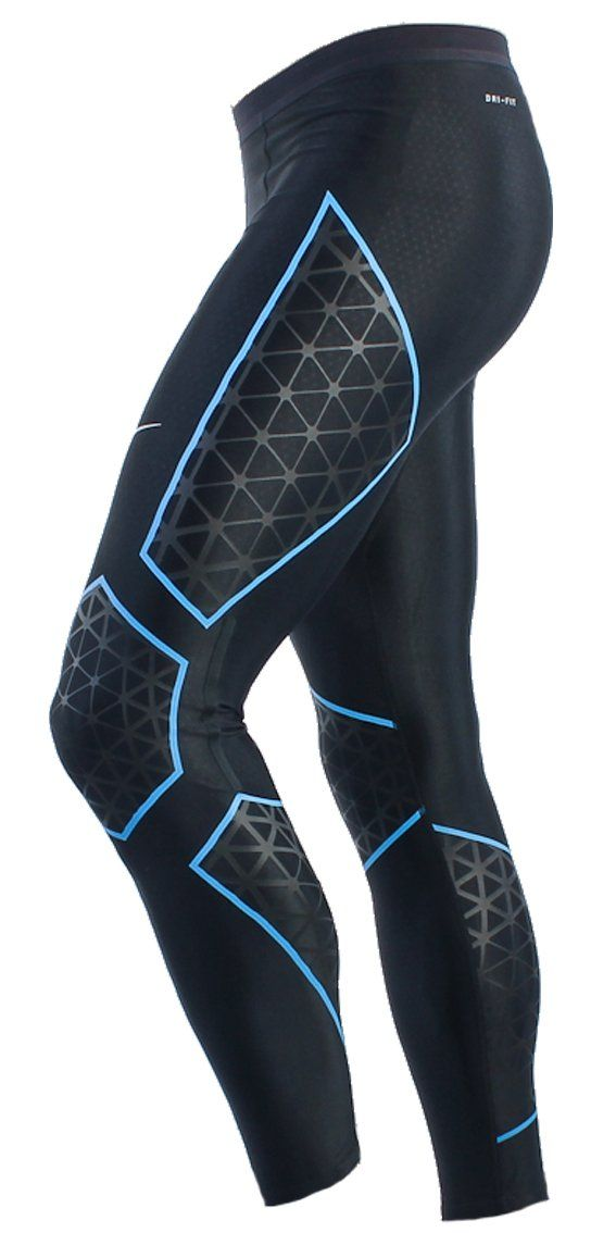 Nike Womens Dri-Fit Running Tights Leggings Ankle Length Compression Gym Pants. Size - Large. Black/Blue. (465425-016): Amazon.co.uk: Clothing