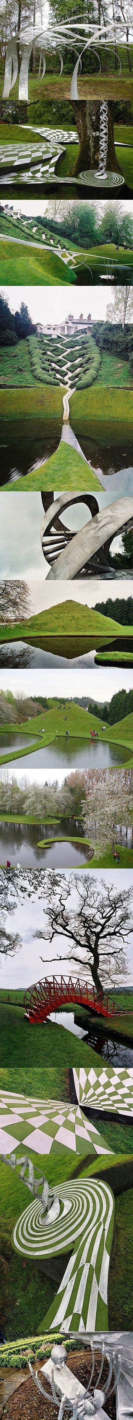 The Garden of Cosmic Speculation in Scotland- we went to part of this at one point, the one with the hill you can walk on