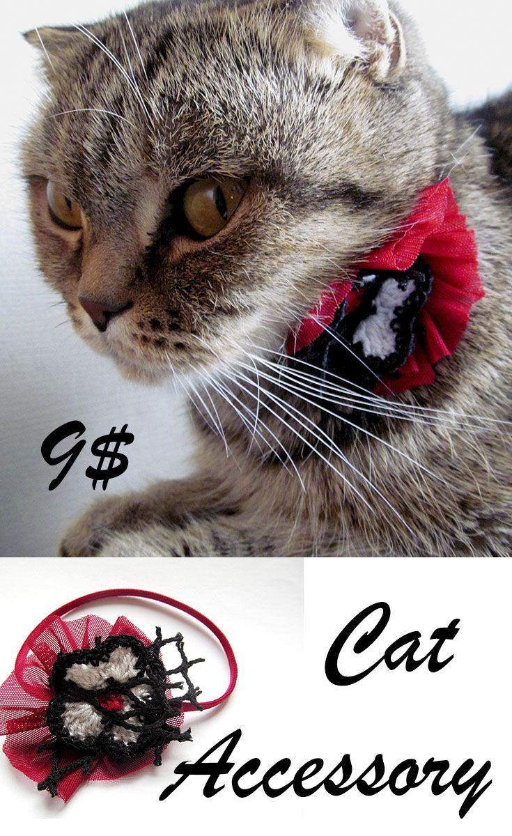 Price 9$ Cat bow tie Cat attire Red collar cat Black bow tie for cat Cat collar Kitten collar Kitten bow tie Cat attire cat costume Cat tie