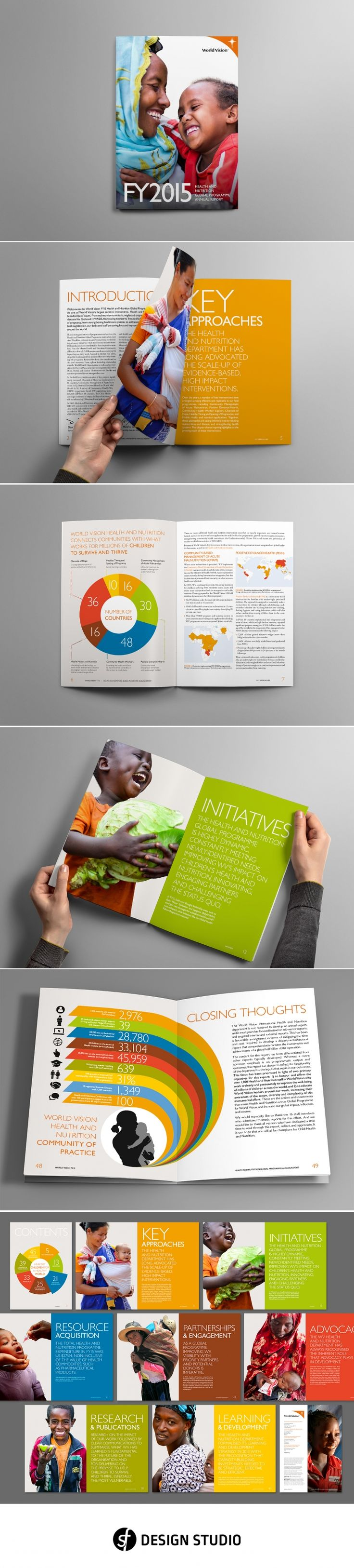 Design, layout and production of the World Vision 2015 Health and Nutrition Annual Report for the Ishimodo brand design agency. With a fairly open visual brief from the Ishimodo agency, SF Design Studio focused on the bold use of photography and colour, with a clean typographic style for the layout. Although the design was different and fresh, it still sat within the brand language already established for World Vision. - created via https://pinthemall.net