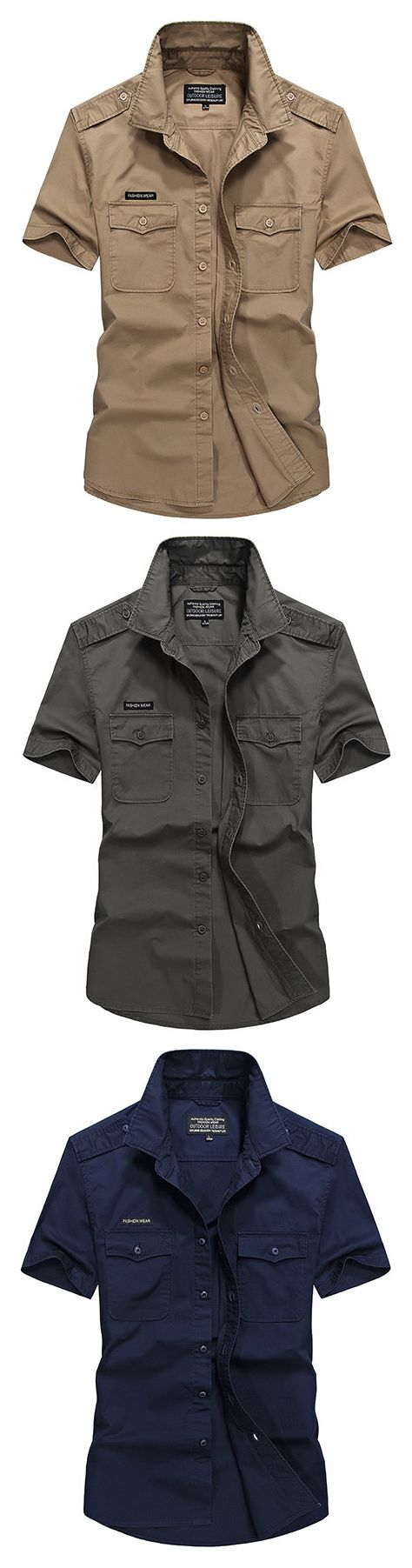 AFSJEEEP Cotton Casual Loose Breathable Chest Pockets Short Sleeve Dress Shirts for Men