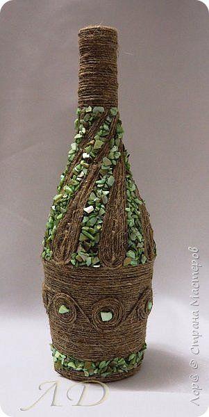 Декор предметов Аппликация Бутылочное Шпагат и камни Бутылки стеклянные Камень Клей Шпагат фото 1