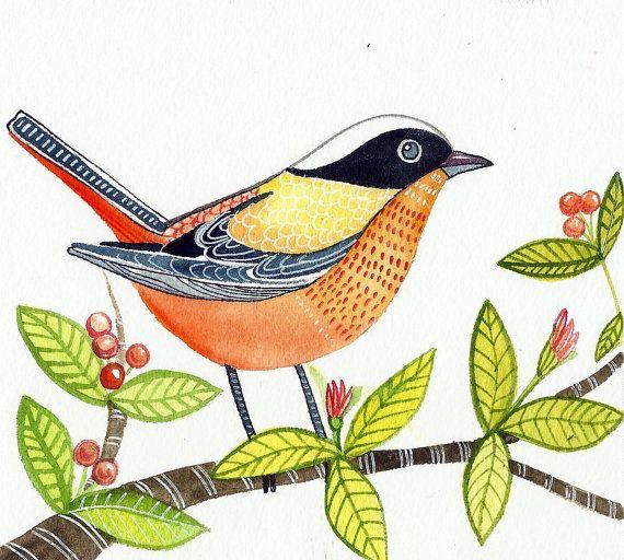 Bird Art / Painting of a Bird / Original  Watercolor/ Modern minimalist on white paper / wall art / room decor on Etsy, $34.99