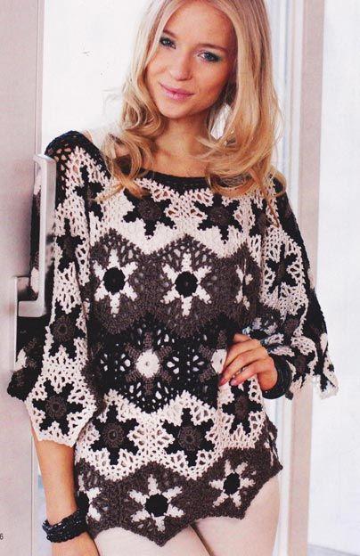 Star Sweater - Free Crochet Diagram - (1001uzor)