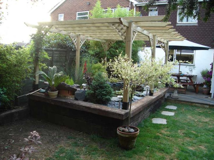 56 best images about railway sleeper ideas on pinterest for Garden pond design using sleepers