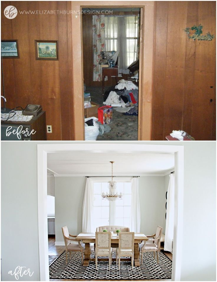 Here is how to save money when renovating a fixer upper - an abandoned 115 year old house. Renovating on a budget, fixer upper homes, is possible! What a beautiful renovated dining room!