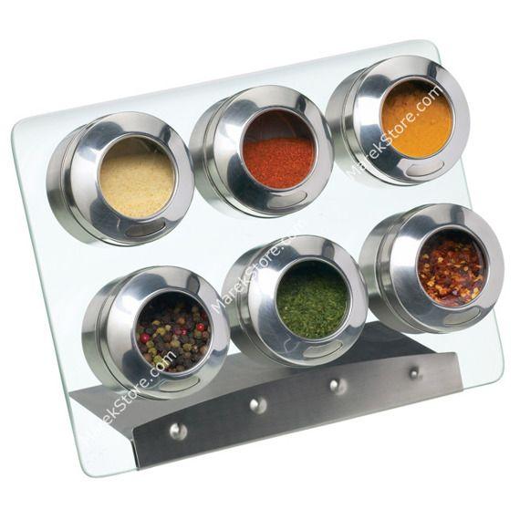 Stojak magnetyczny na 6 pojemników na przyprawy | KITCHEN CRAFT HOME MADE