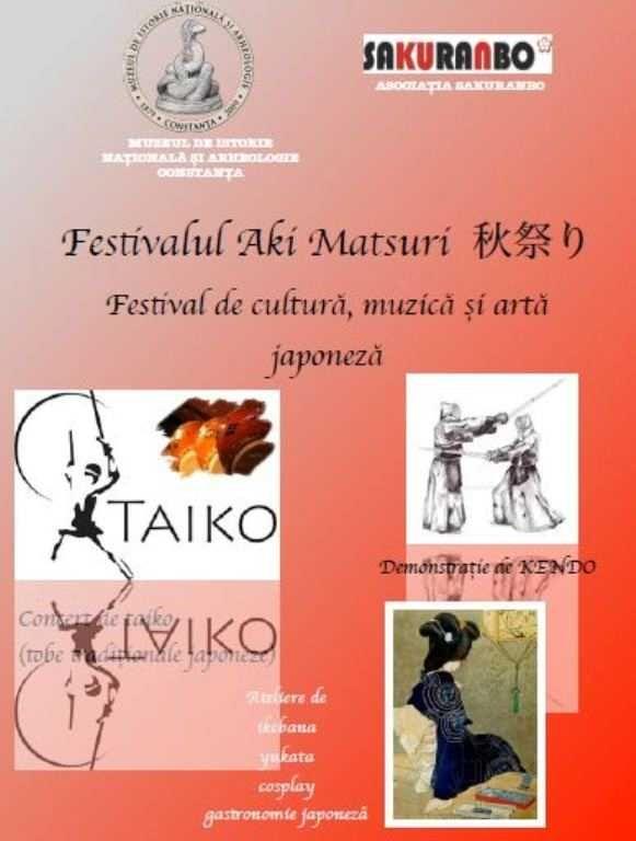 Muzeul de Istorie Natională si Arheologie Constanta si Asociatia Sakuranbo îi invită pe constănteni duminică, între orele 11.00 si 15.00, la Festivalul Aki Matsuri