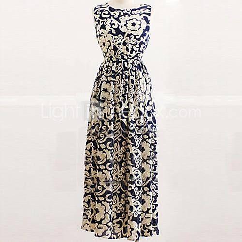 rodada de impressão vestido de chiffon praia maxi das mulheres - BRL R$ 31,54