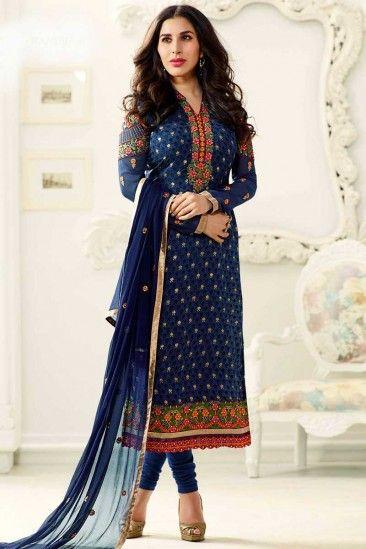 Bollywood Sophie Choudry Blue Brasso Churidar Dress - DMV14834
