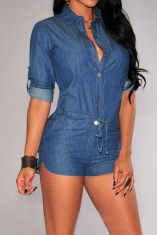 Vintage Shirt Collar Solid Color 3/4 Sleeve Lace-Up Jeans Romper For Women