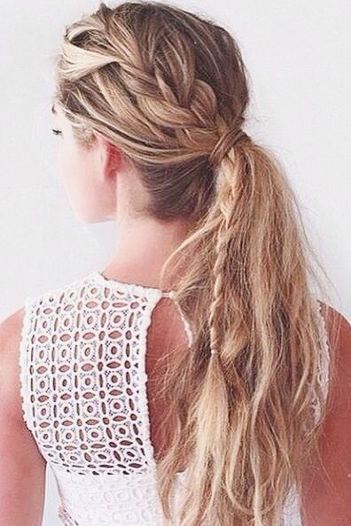 Give your pony tail some texture with this side braid!