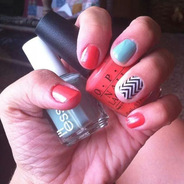 Jamberry chevron, Essie turquoise & caicos and OPI hot & spicy. Nail Art- honey, the only way this is happening is by Jamberry Nail Wraps.  Click the image to see what you can create with over 300+ designs. Find me on Facebook for a FREE sample:  https://www.facebook.com/jamberrynailswithsarahwiley
