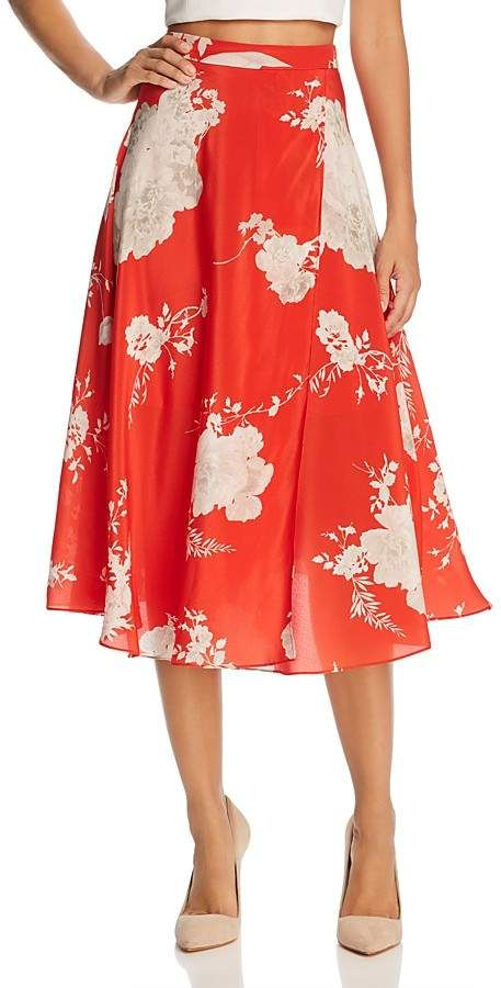 482bf4fd0a93 Alice + Olivia Nanette Faux-Wrap Floral Silk Midi Skirt | Fashion in ...