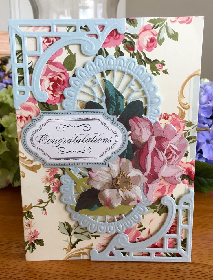 Card Making Ideas Using Cuttlebug Part - 29: Anna Griffin Graduation Card Using AG Papers, Antique Card Toppers Used As  Well As AG
