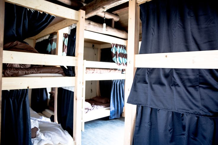 Mixed dormitory for 6 people. #hostel #nagano #bunkbed #curtain #japan #travel #長野 #ゲストハウス #ドミトリー #二段ベッド