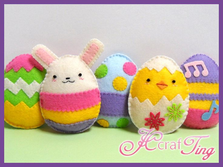 Delightful Felt Easter Eggs, Chick and Bunny - PDF Pattern. $5.00, via Etsy.