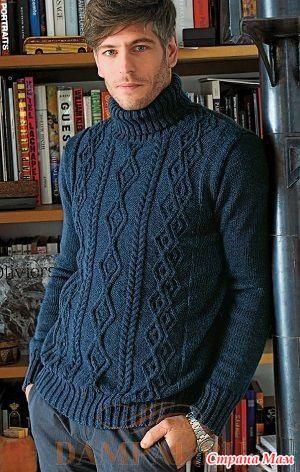 """Мужской свитер с высоким воротником выполнен рисунком из комбинации жгутов. Описание вязания свитера переведено из журнала """"Knitting Magazine"""". Размеры: S [M, L, XL, XXL]"""