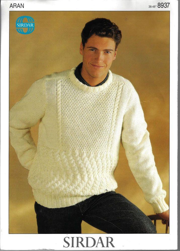 Man's Textured Sweater Sirdar 8937 knitting pattern aran weight yarn 36-46 inch #Sirdar
