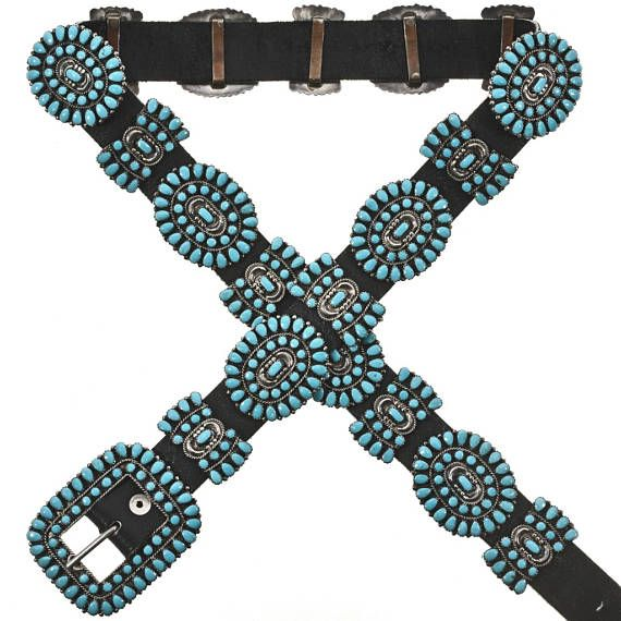 Vintage Turquoise Silver Concho Belt By Victor Moses Begay