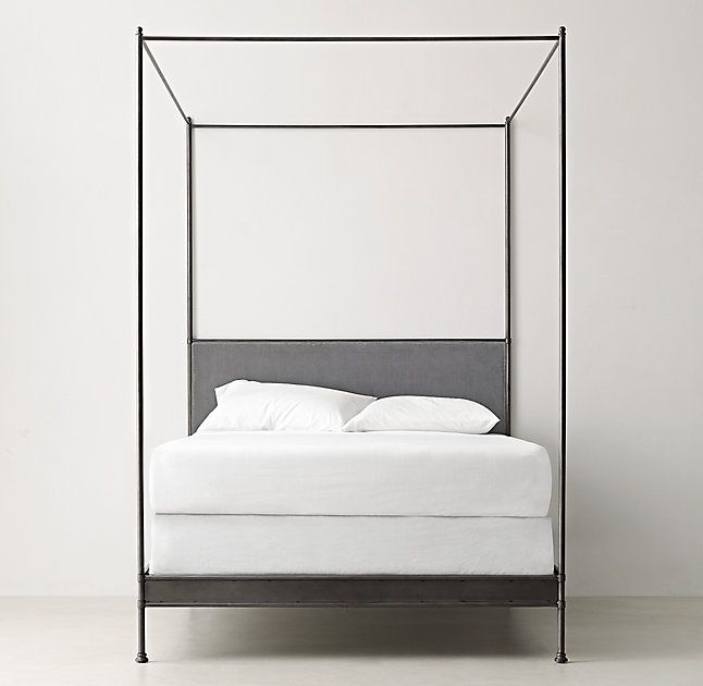 RH TEEN's Caleigh Iron Canopy Bed:Our classic canopy bed gets an extra dose of drama from its plush velvet-upholstered headboard and sideboards. Delicate finials crown the iron canopy and posts, while optional linen swags deliver a final flourish.