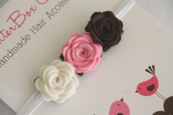 Baby Flower Headband - Petite Rosebud Trio in Cream, Pink and Brown Wool Felt - Infant Toddler Girls