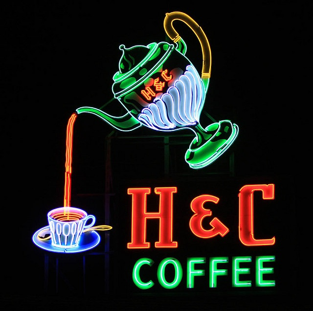 The great H coffee sign in downtown Roanoke.