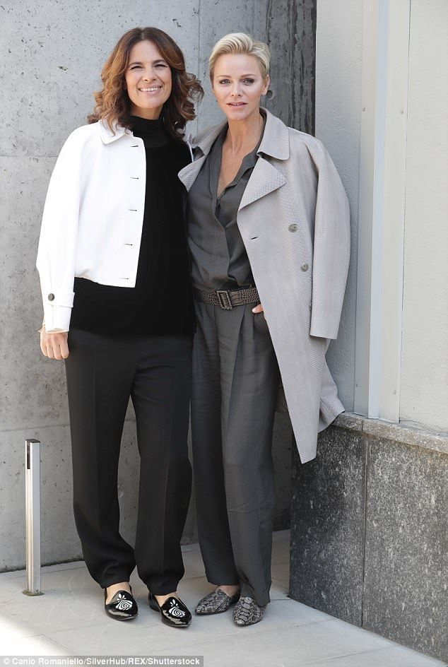 The royal appeared to be taking her cues from the Italians at fashion week - she opted for relaxed trousers and statement flats like Roberta