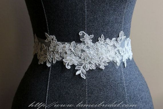 Ivory White Lace on a see through ribbon wedding dress sash