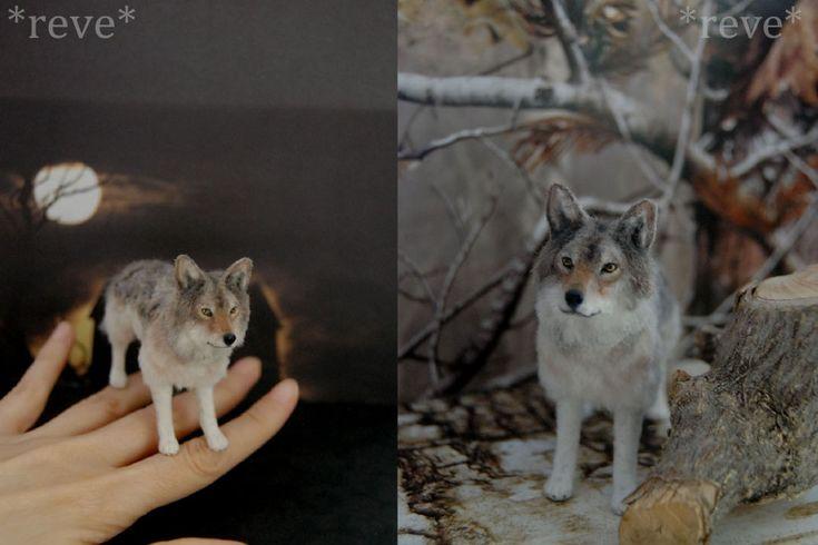 Miniature Wolf * Handmade Sculpture * by ReveMiniatures.deviantart.com on @deviantART
