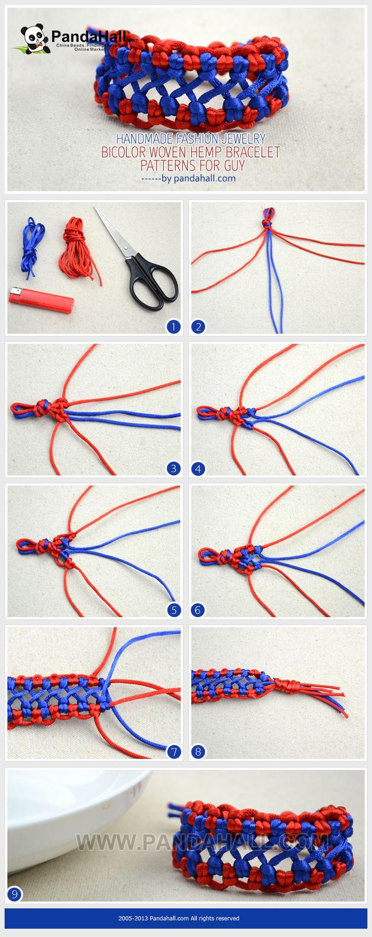 Handmade Fashion Jewelry Bicolor Woven Hemp Bracelet Patterns For Guys  From Pandahall