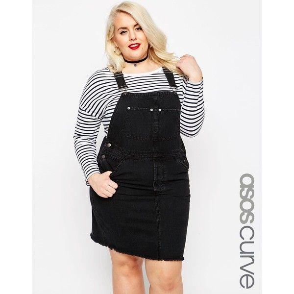 ASOS CURVE Denim Classic Dungaree Dress in Black with Raw Hem ($50) ❤ liked on Polyvore featuring dresses, black, plus size, denim pinafore dress, asos curve dresses, denim dress, plus size pocket dress and button dress