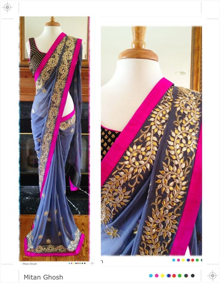 Georgette Gota Patti Saree by Mitan Ghosh http://www.pinterest.com/mitanghosh/ New Jersey