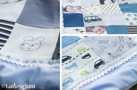 Tankespinn & Virvelvind: Lappeteppe// quilt from baby clothes -first year