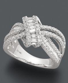 Effy Collection Diamond Ring, 14k White Gold Diamond Loop Ring