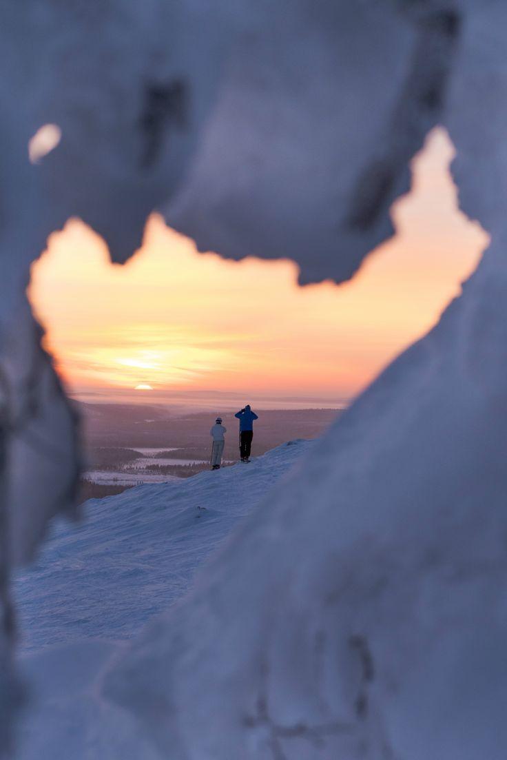 Skiing photography in Pyhä Tunturi Lapland Finland. Winter Sunset photography.